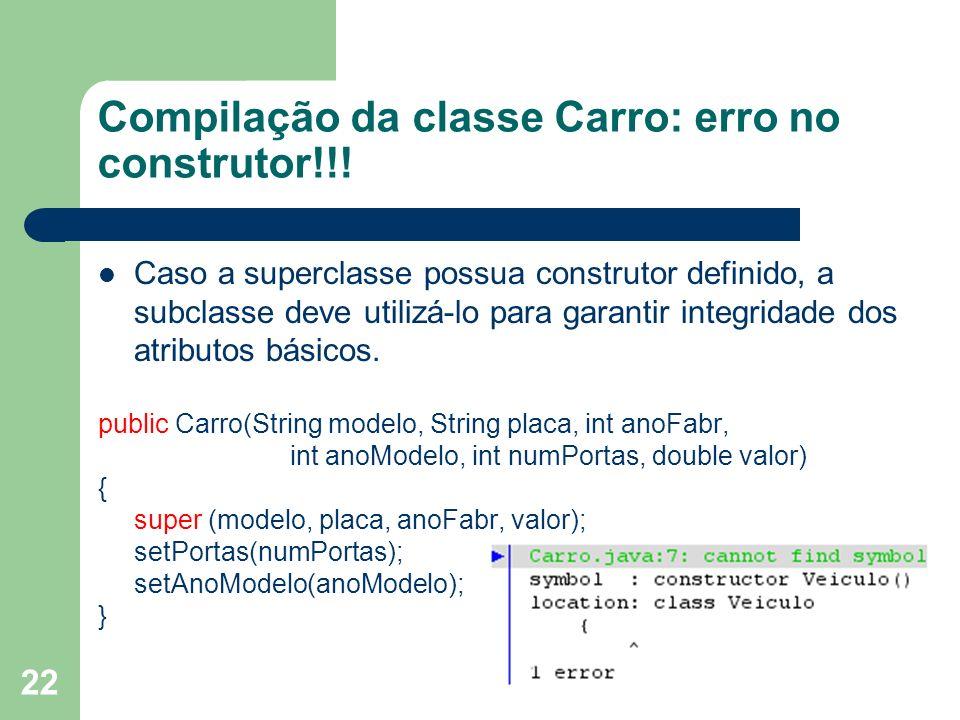 Compilação da classe Carro: erro no construtor!!!