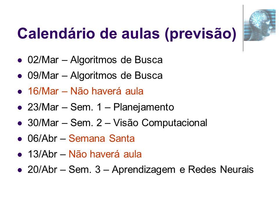 Calendário de aulas (previsão)