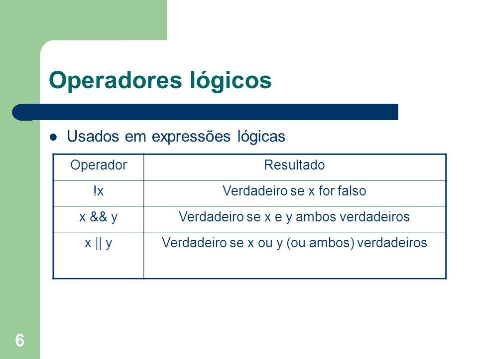 Operadores lógicos Usados em expressões lógicas Operador Resultado !x