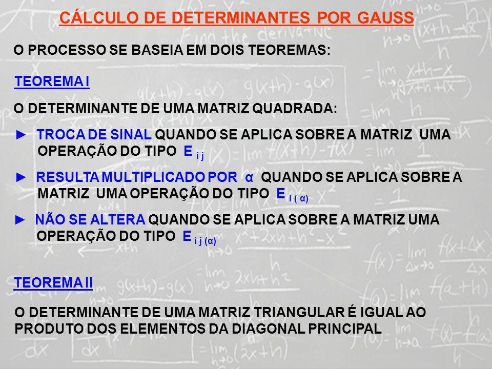 CÁLCULO DE DETERMINANTES POR GAUSS