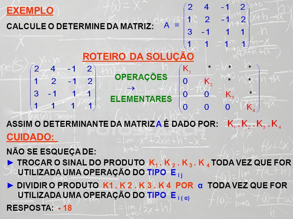 EXEMPLO ROTEIRO DA SOLUÇÃO CUIDADO: CALCULE O DETERMINE DA MATRIZ: