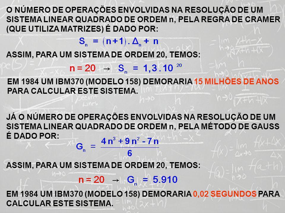 O NÚMERO DE OPERAÇÕES ENVOLVIDAS NA RESOLUÇÃO DE UM