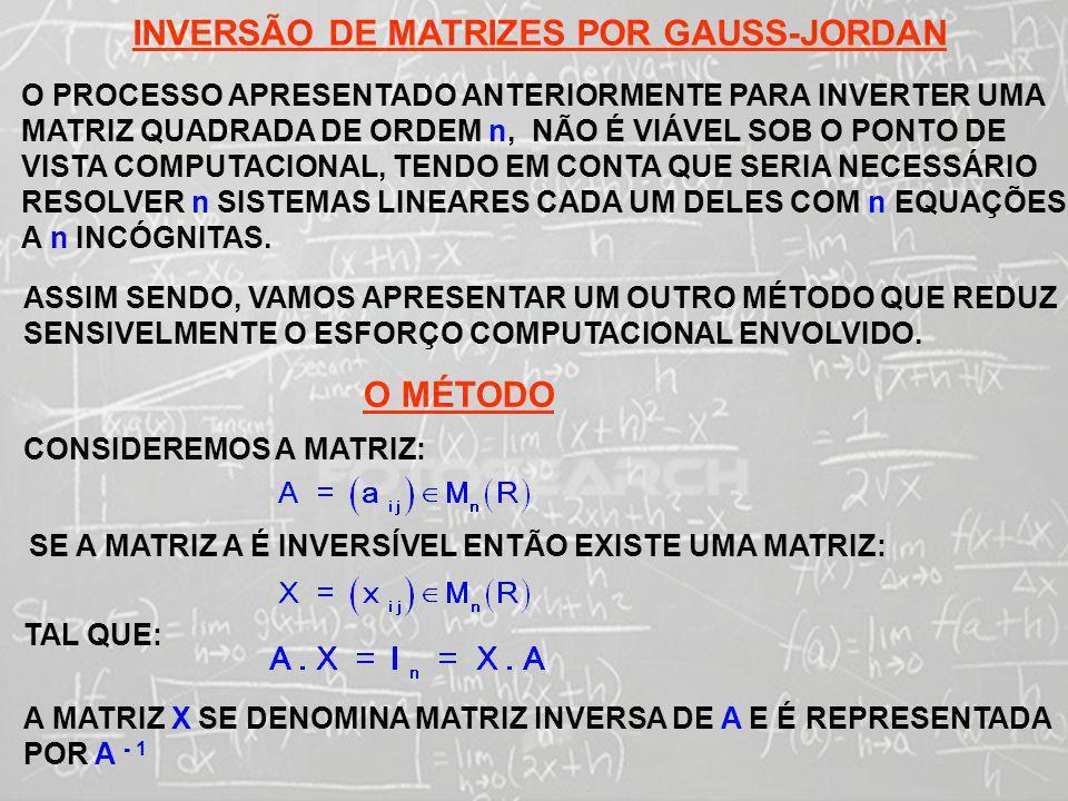 INVERSÃO DE MATRIZES POR GAUSS-JORDAN