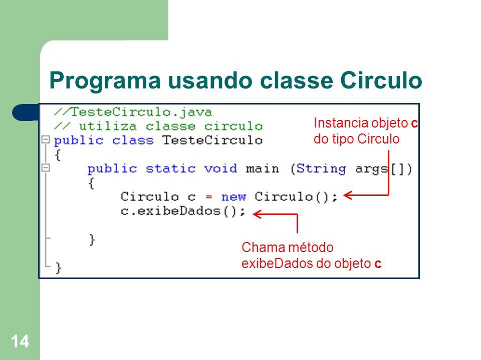 Programa usando classe Circulo