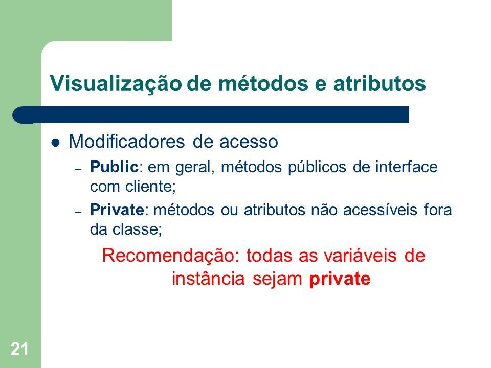 Visualização de métodos e atributos