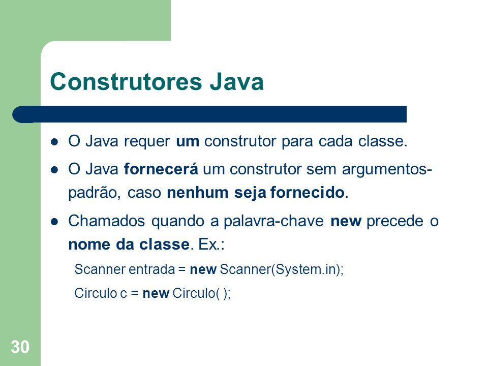 Construtores Java O Java requer um construtor para cada classe.