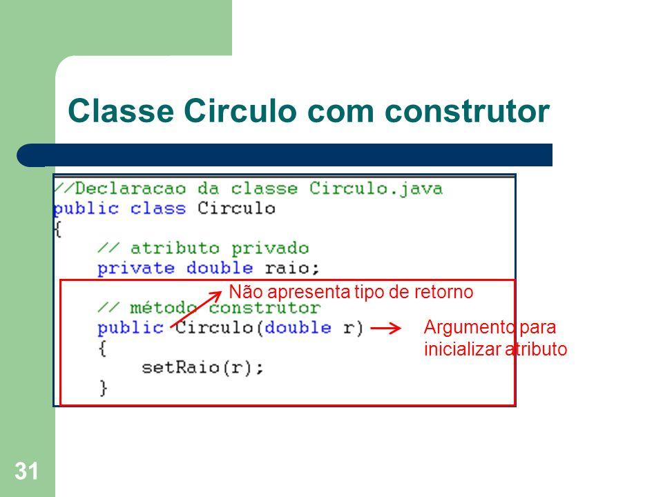 Classe Circulo com construtor