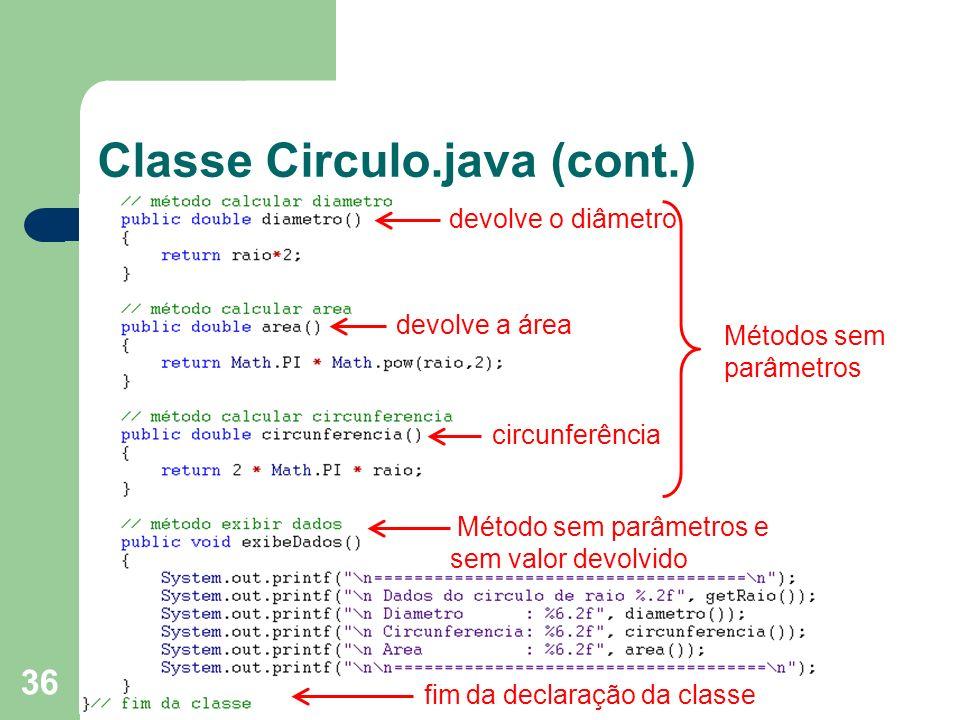 Classe Circulo.java (cont.)
