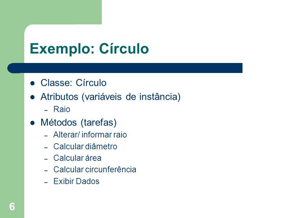 Exemplo: Círculo Classe: Círculo Atributos (variáveis de instância)