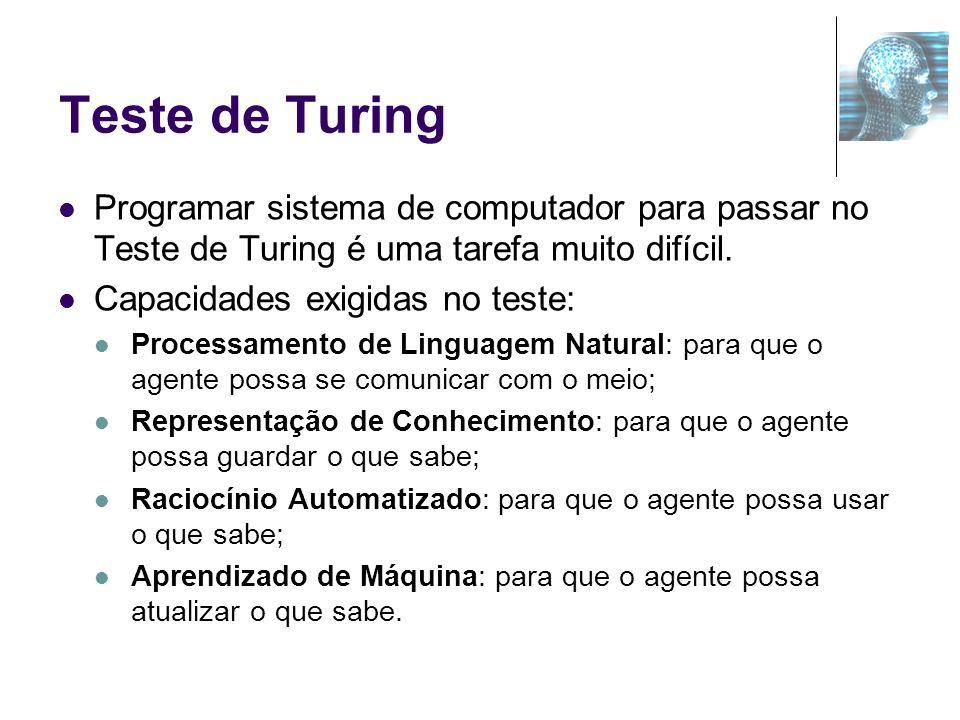 Teste de Turing Programar sistema de computador para passar no Teste de Turing é uma tarefa muito difícil.