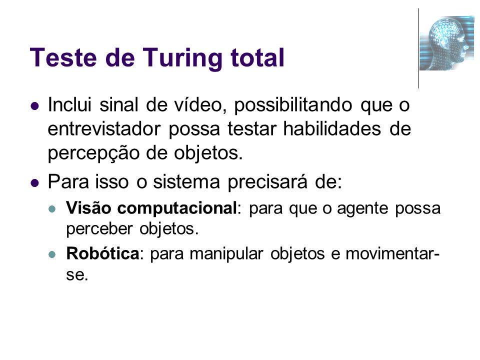 Teste de Turing total Inclui sinal de vídeo, possibilitando que o entrevistador possa testar habilidades de percepção de objetos.