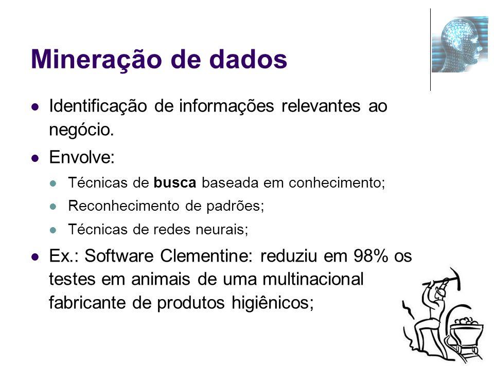 Mineração de dados Identificação de informações relevantes ao negócio.