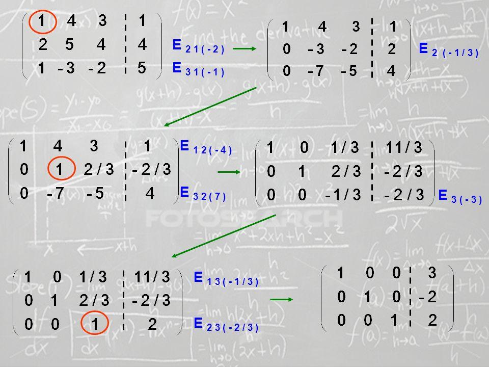 E 2 1 ( - 2 ) E 2 ( - 1 / 3 ) E 3 1 ( - 1 ) E 1 2 ( - 4 ) E 3 2 ( 7 ) E 3 ( - 3 ) E 1 3 ( - 1 / 3 )