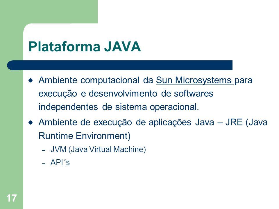 Plataforma JAVAAmbiente computacional da Sun Microsystems para execução e desenvolvimento de softwares independentes de sistema operacional.