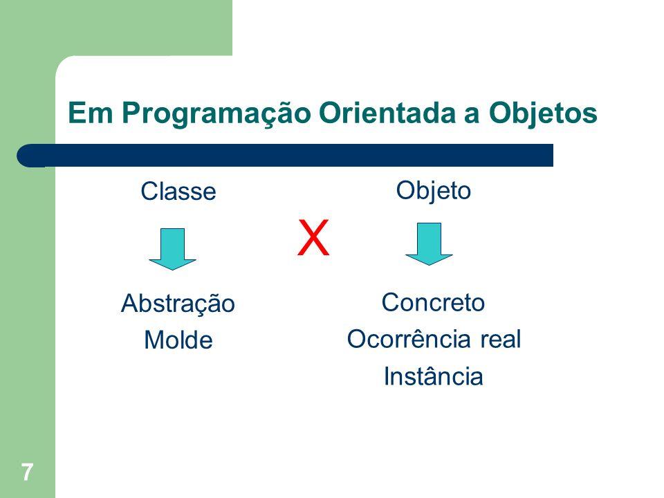Em Programação Orientada a Objetos