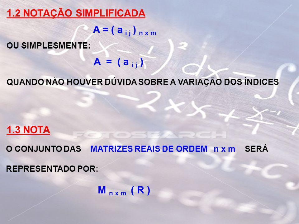 1.2 NOTAÇÃO SIMPLIFICADA A = ( a i j ) n x m A = ( a i j ) 1.3 NOTA