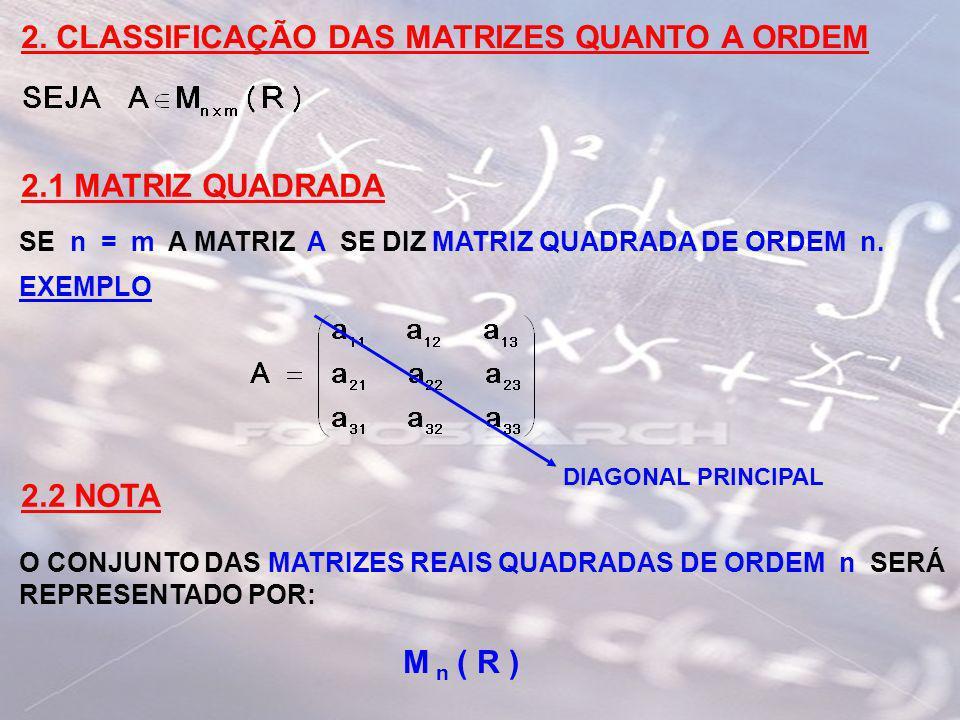 2. CLASSIFICAÇÃO DAS MATRIZES QUANTO A ORDEM