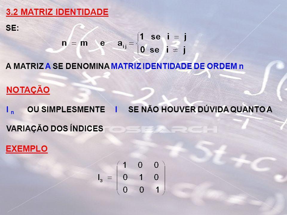 3.2 MATRIZ IDENTIDADE NOTAÇÃO EXEMPLO SE: