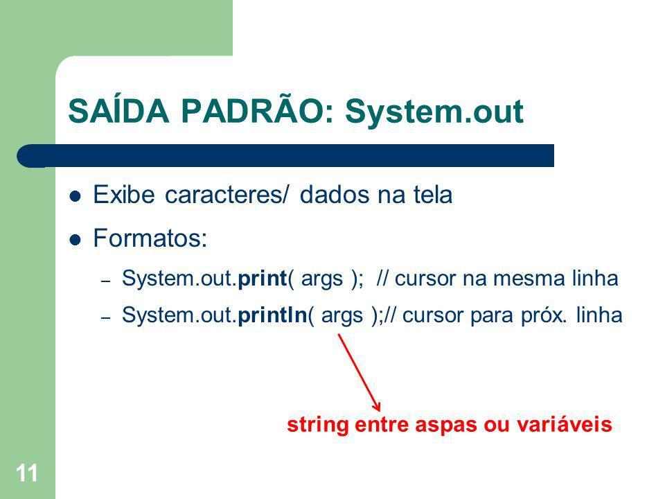 SAÍDA PADRÃO: System.out
