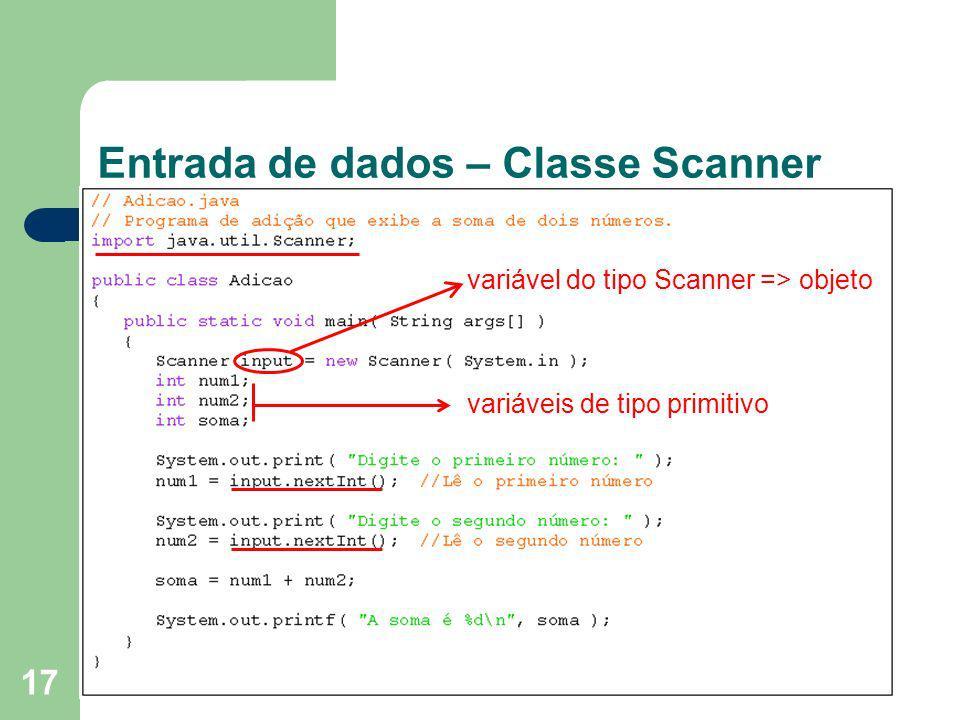 Entrada de dados – Classe Scanner