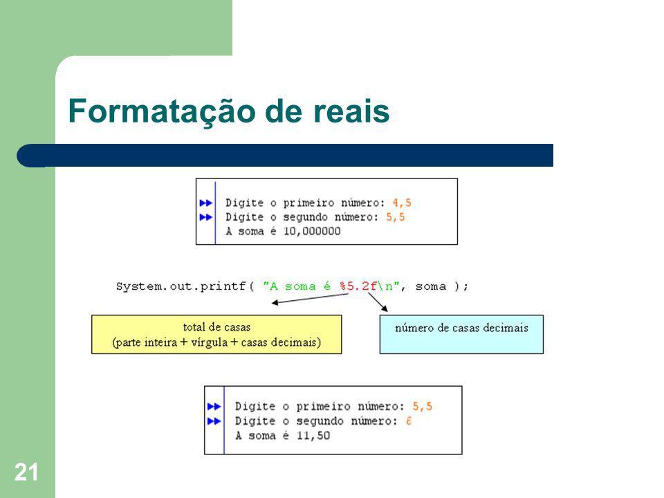 Formatação de reais
