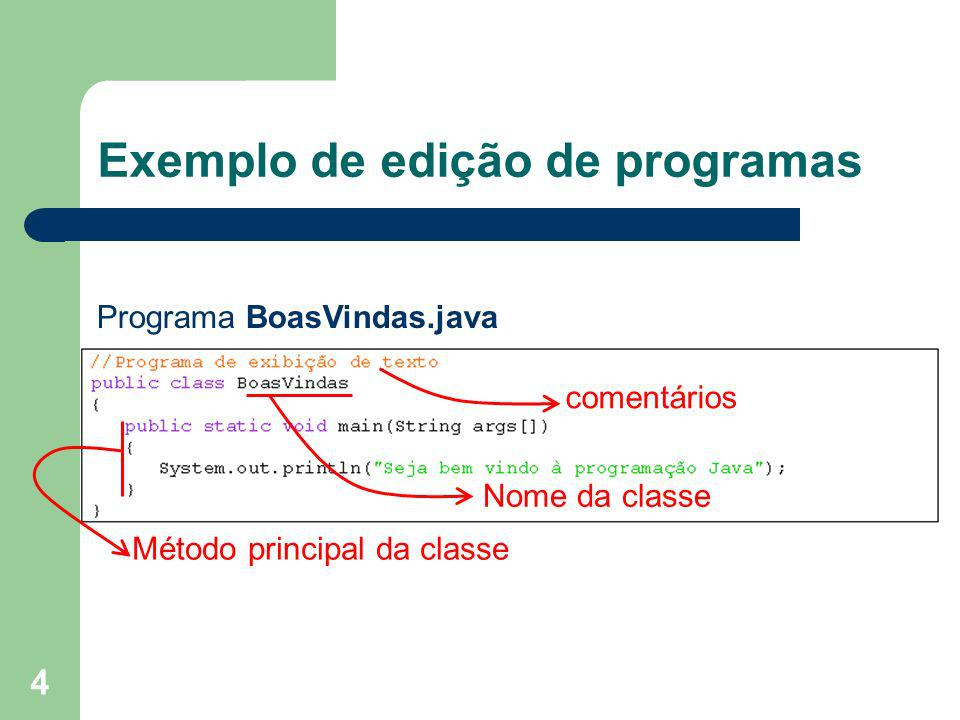 Exemplo de edição de programas