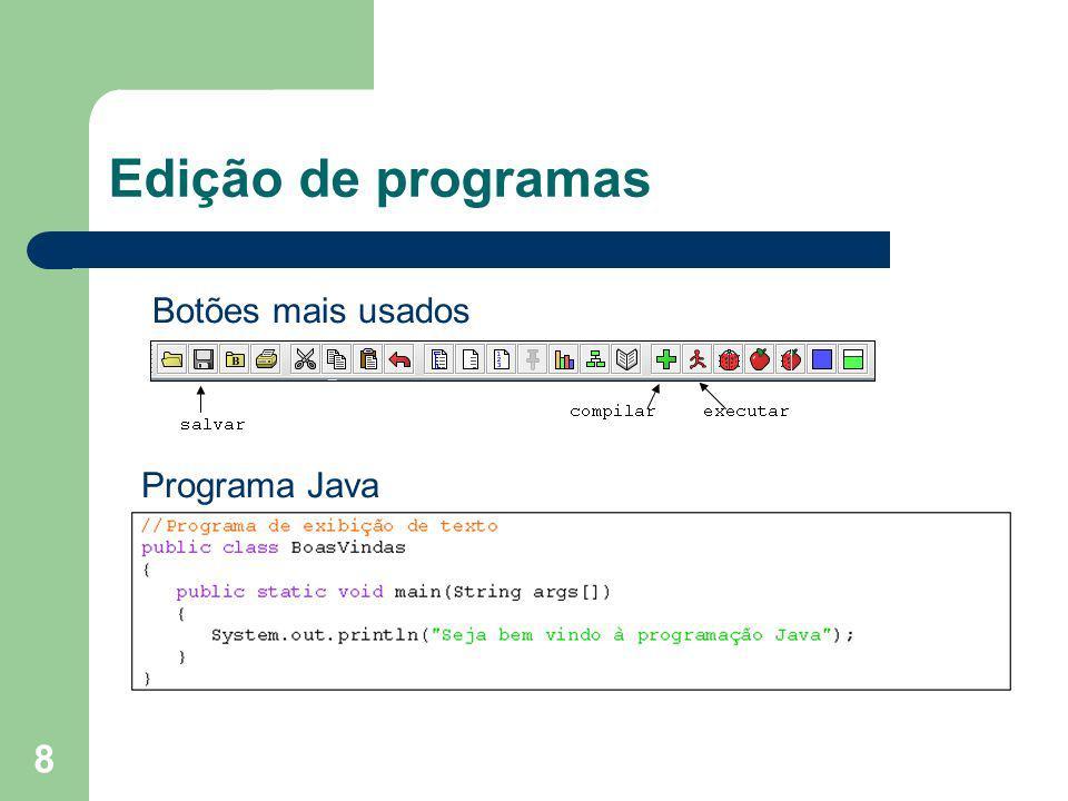 Edição de programas Botões mais usados Programa Java