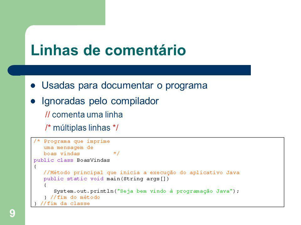 Linhas de comentário Usadas para documentar o programa