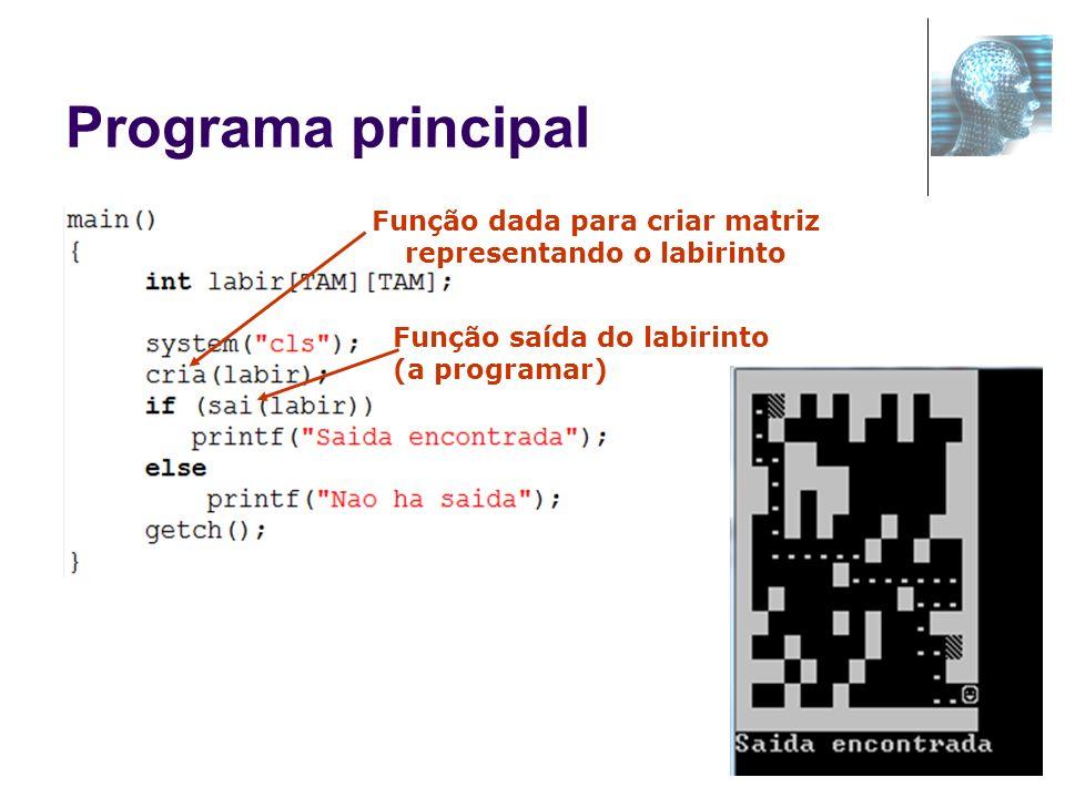 Função dada para criar matriz representando o labirinto