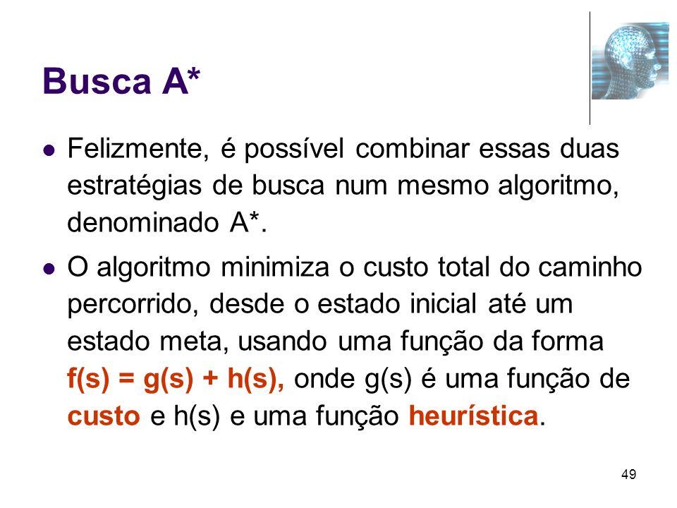 Busca A* Felizmente, é possível combinar essas duas estratégias de busca num mesmo algoritmo, denominado A*.