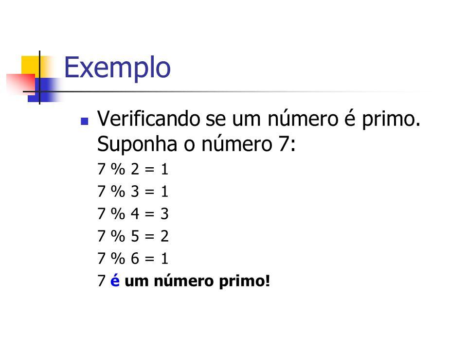 Exemplo Verificando se um número é primo. Suponha o número 7: