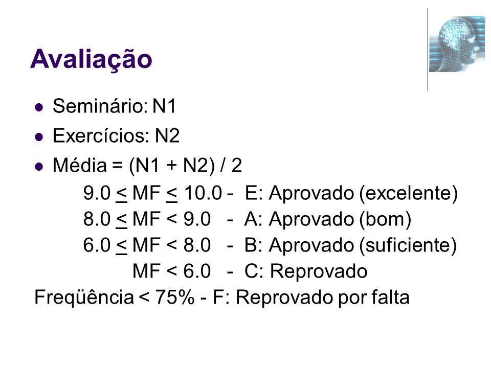 Avaliação Seminário: N1 Exercícios: N2 Média = (N1 + N2) / 2