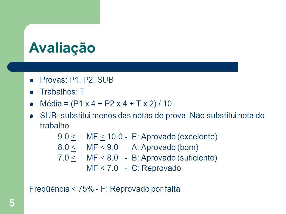 Avaliação Provas: P1, P2, SUB Trabalhos: T