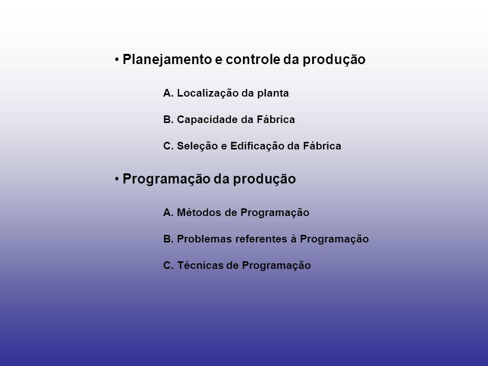 Planejamento e controle da produção A. Localização da planta