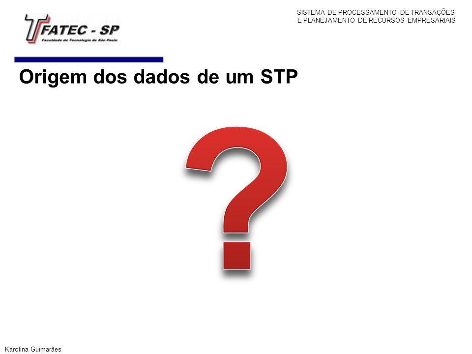 Origem dos dados de um STP SISTEMA DE PROCESSAMENTO DE TRANSAÇÕES