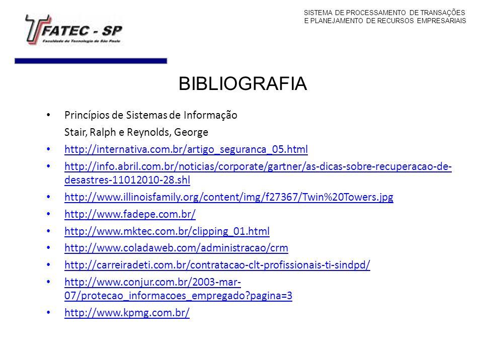 BIBLIOGRAFIA Princípios de Sistemas de Informação