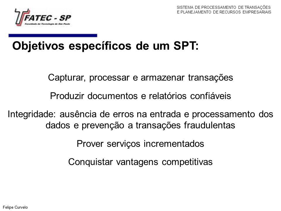 Objetivos específicos de um SPT: