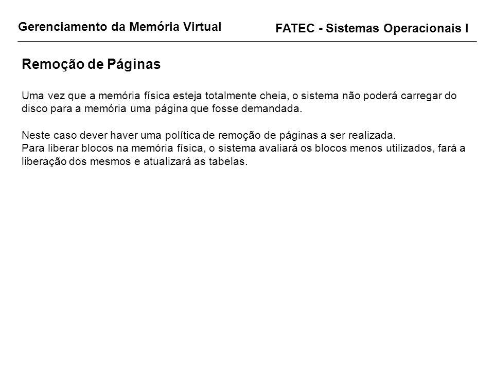 Remoção de Páginas Gerenciamento da Memória Virtual