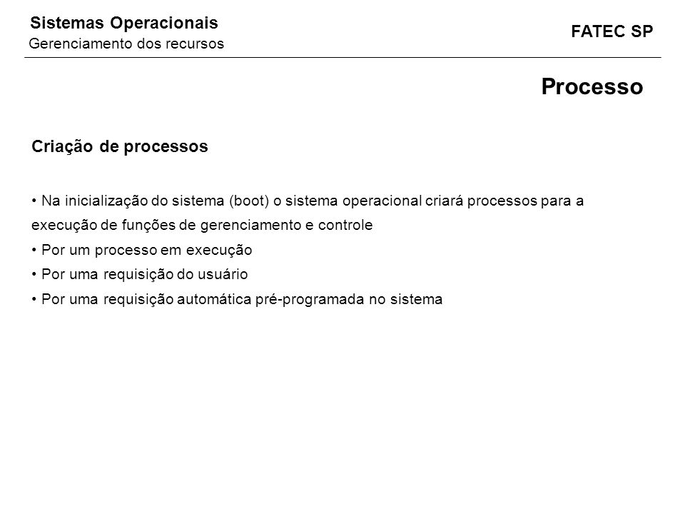 Processo Criação de processos Gerenciamento dos recursos