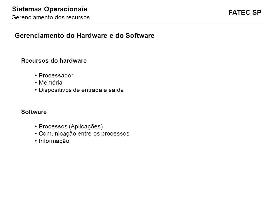 Gerenciamento do Hardware e do Software