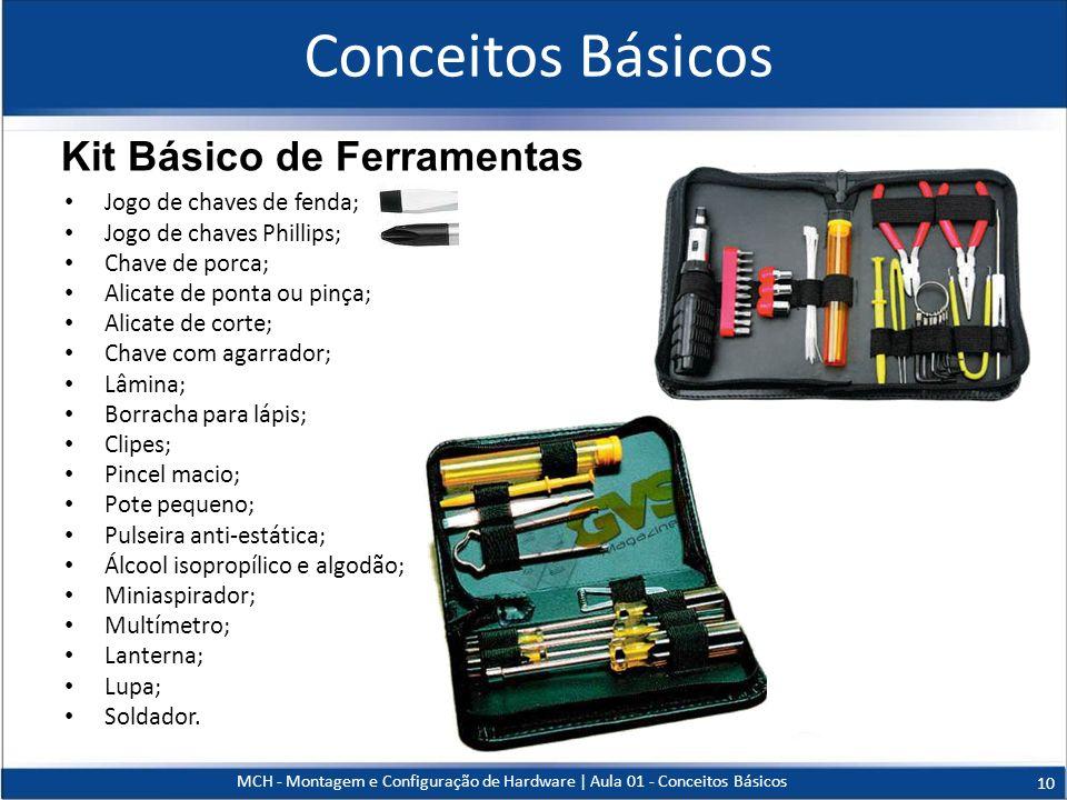 Conceitos Básicos Kit Básico de Ferramentas Jogo de chaves de fenda;