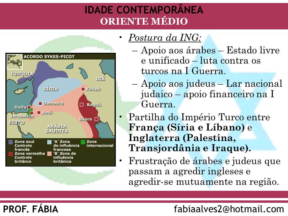 Postura da ING: Apoio aos árabes – Estado livre e unificado – luta contra os turcos na I Guerra.