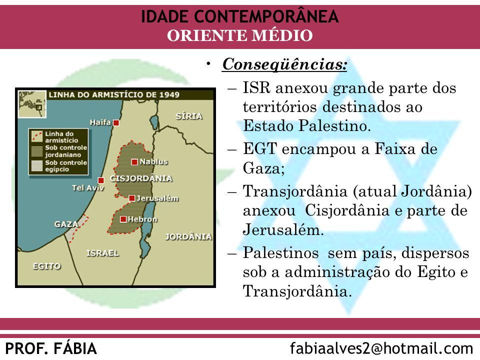 Conseqüências: ISR anexou grande parte dos territórios destinados ao Estado Palestino. EGT encampou a Faixa de Gaza;