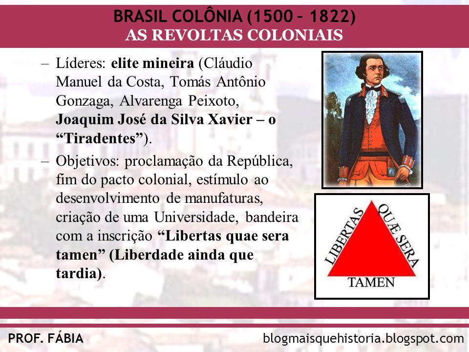 Líderes: elite mineira (Cláudio Manuel da Costa, Tomás Antônio Gonzaga, Alvarenga Peixoto, Joaquim José da Silva Xavier – o Tiradentes ).