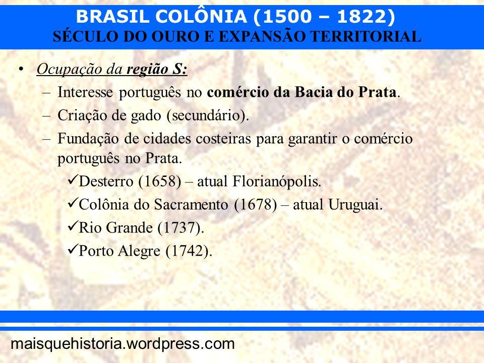 Ocupação da região S:Interesse português no comércio da Bacia do Prata. Criação de gado (secundário).