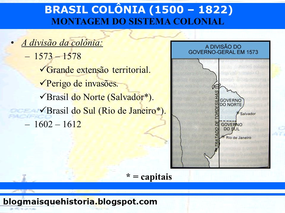 A divisão da colônia:1573 – 1578. Grande extensão territorial. Perigo de invasões. Brasil do Norte (Salvador*).