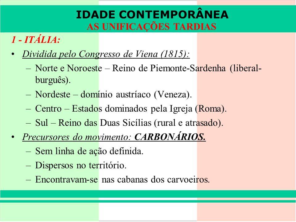 IDADE CONTEMPORÂNEA AS UNIFICAÇÕES TARDIAS 1 - ITÁLIA: