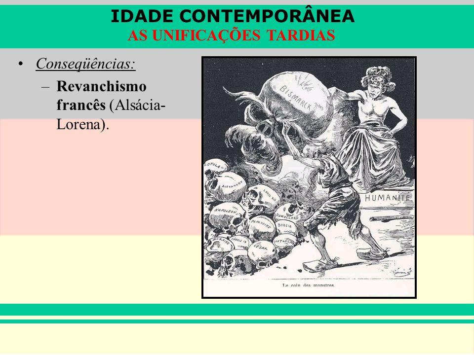 Conseqüências: Revanchismo francês (Alsácia-Lorena).