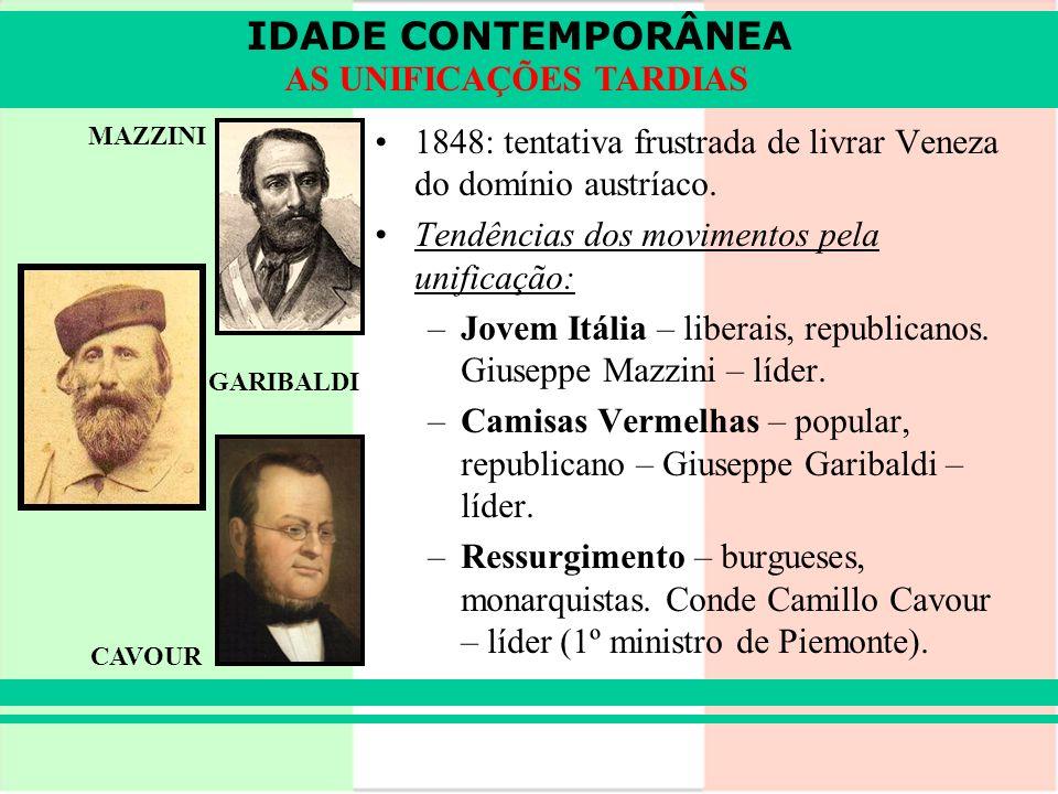 IDADE CONTEMPORÂNEA AS UNIFICAÇÕES TARDIAS