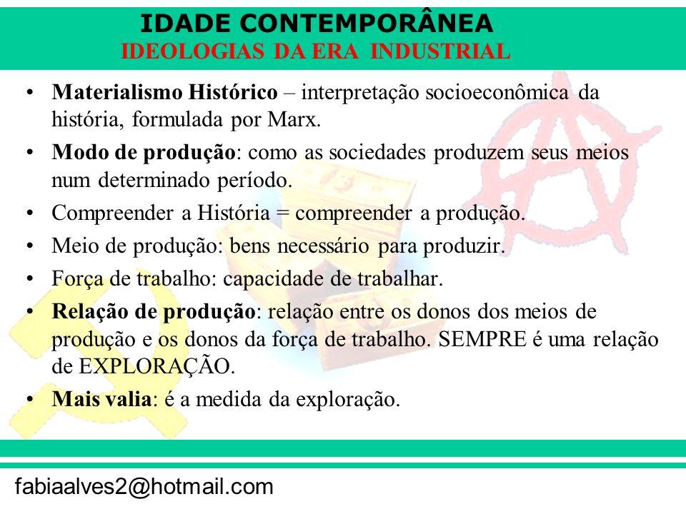 Materialismo Histórico – interpretação socioeconômica da história, formulada por Marx.